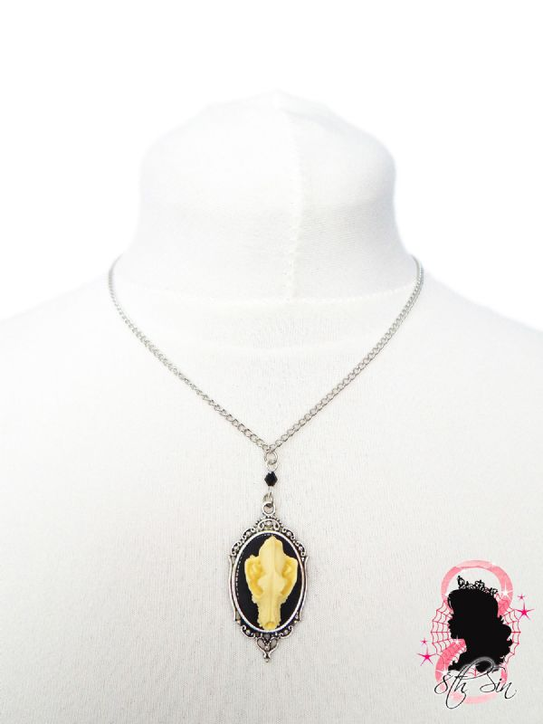 "1.5"" Antique Silver Wolf Skull Cameo Necklace"